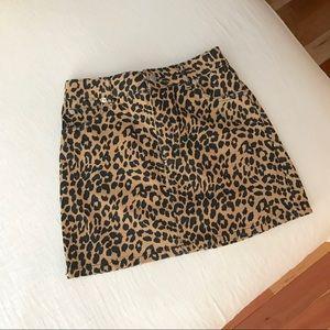 Topshop leopard denim skirt